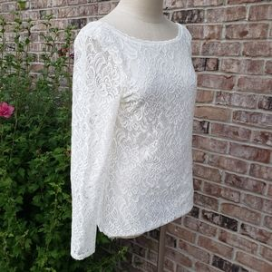 White House Black Market Lace Long Sleeves Top M